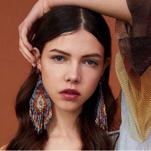 2/$35🖤 Long Beaded Tassel Oversized Drop Earrings